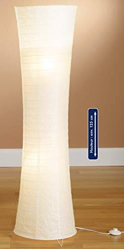 trango moderno disegno lampada da terra a led i lampada da tavolo in riso bianco tondo tg1229-026l lampada da terra, alta 125 cm come salotto lampada deco i paralume incl. 2 lampadine e14 led