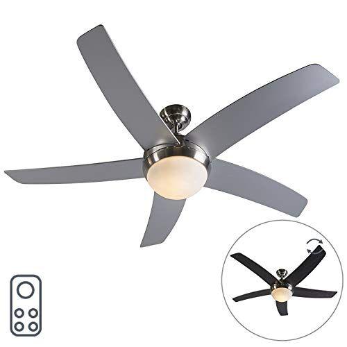 qazqa ventilatori da soffitto cool - design - vetro,legno,acciaio - nero/grigio/acciaio - tondo max. 2 x 40