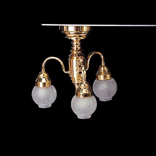globalflashdeal 1:12 casa delle bambole ottone lampadario 3 braccio led lampada da soffitto in vetro ombra