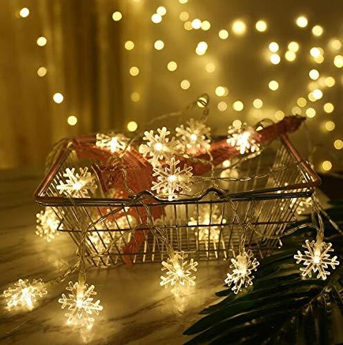 aiooy catena luminosa,luci natalizie a forma di fiocco di neve,per natale,giardino,terrazza,camera da letto,feste,interni ed esterni,luce bianca calda
