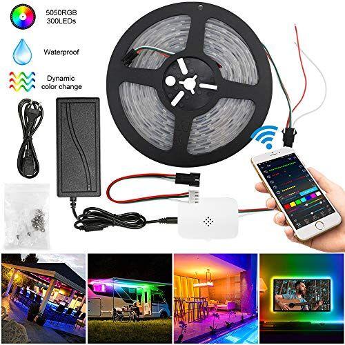 SUBOSI Striscia LED WiFi Dreamcolor 5 m impermeabile IP65 RGB 5050 300 LED, compatibile con Alexa, Google Assistant, Multicolor Chasing Effect Band12 V 5 A Full Kit