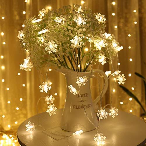 qintian fiocco di neve stringa luci led, qintian 100 led string fairy lights 10m led bianco caldo luci stringa impermeabili decorative, 8 modalit catena luminosa esterno per casa, festa, matrimonio, giardino