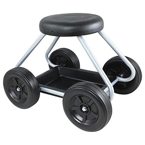 upp sedia a rotelle easy work portata fino a 130 kg - ginocchiere - altezza seduta 40 cm - salvaschiena per giardino, casa e officina - carrello da giardino con sedile a camera d' aria.