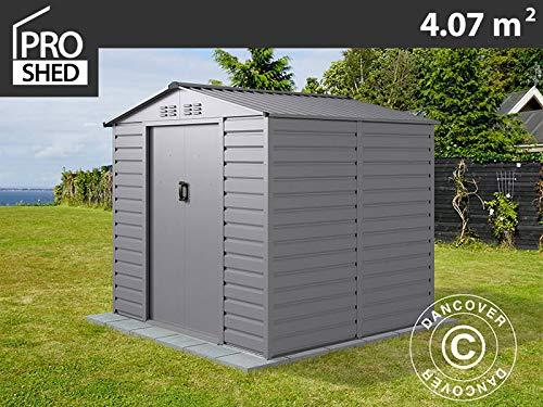 dancover casetta da giardino 2,13x1,91x1,90m proshed®, alluminio grigio