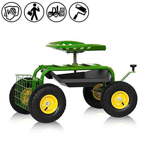 aufun - sedia a rotelle da giardino, portata fino a 150 kg, altezza regolabile di 5-8 cm, ergonomica, con pneumatici in gomma gonfiabili, carrello ribaltabile per attrezzi