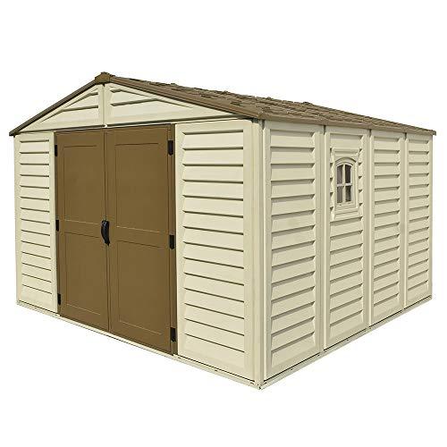 ezooza casetta da giardino in pvc woodbrige plus 325 x 319 cm colore beige e marrone