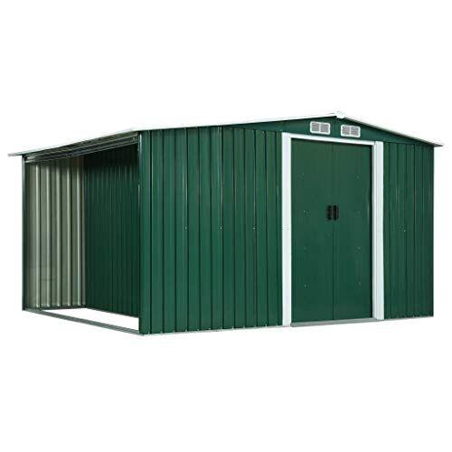 vidaxl - casetta da giardino con ante verde, 329,5 x 205 x 178 cm, in acciaio