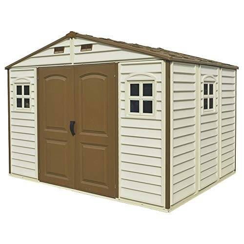 ezooza casetta da giardino in pvc woodside 325 x 240 cm colore beige e marrone