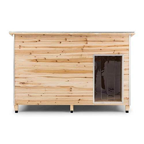 oneconcept schloss wuff - cuccia da esterno per cani, casetta per cani, ideale per cani fino a 60cm, legno di abete, materiale isolante:polistirolo, rivestimento in bitume, antimorso, misura l