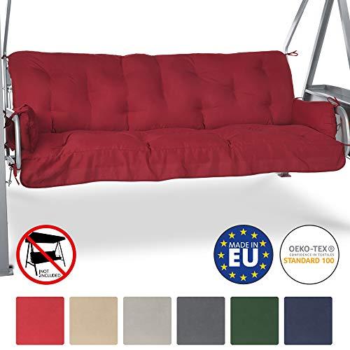 beautissu cuscini per dondoli e altalene da giardino flair hs - 180x50x8 cm - 2 braccioli e un soffice cuscino grande - rosso