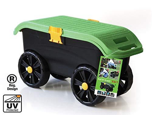 tec hit 390003 - sedia da giardino a rotelle 3 in 1, colore: nero/verde