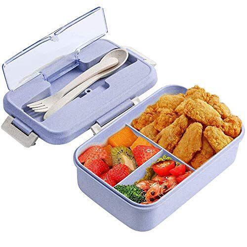 zoneyan porta pranzo, lunch box con posate(forchetta e cucchiaio), bento box con scomparti bambini, porta pranzo contenitori per microonde (viola)