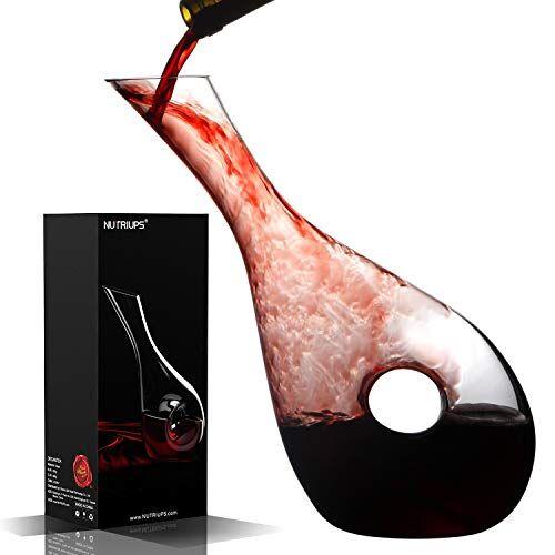 nutriups decanter per vino caraffa per vino cristallo senza piombo con tappo in sughero aeratore per vino rosso soffiato a mano sfiatatoio per vino (+ spazzola per la pulizia)