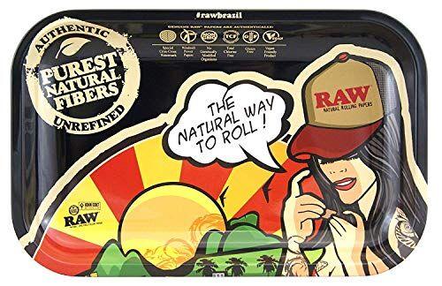 RAW Small Brasil Metal Rolling Tray-27,5 x 17,5 cm, nero, M