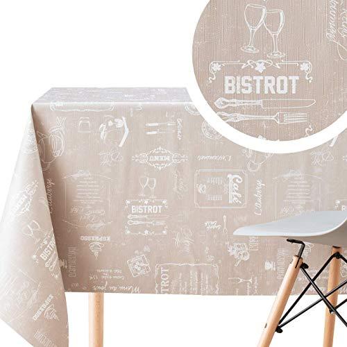 kp home tovaglia plastificata rettangolare - 200 x 140 cm - disegno caffetteria cerata pvc di colore crema beige - moderne cucina tovaglia tavolo cerata plastica vinilica spessa facile da pulire