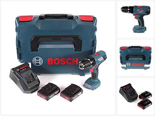 bosch gsb 18 v-21 - trapano avvitatore a percussione professionale a batteria, 55 nm, in valigetta l-boxx, con 2 batterie gba 2,0 ah e caricatore al 1820 cv