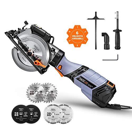 TACKLIFE Sega Circolare Avanzata, 750 W, 6 Velocità, 125 mm e 115 mm per 6 Lame, Impugnatura in Metallo, Guida Laser - TCS115E