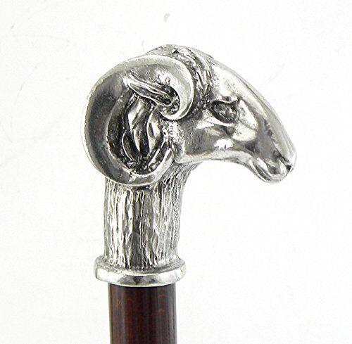 cavagnini bastone da passeggio, maniglia ariete.cane in legno e peltro solido lunghezza personalizzata, prodotto e spedito da italia. cavagnini artigiano qualità