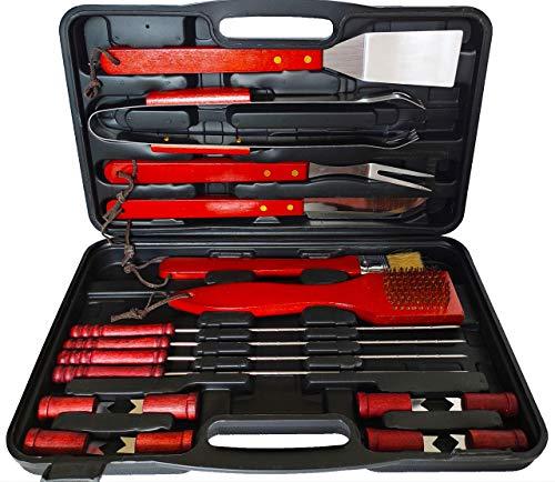Siriob Set Kit Accessori Barbecue con Valigetta Utensili griglia BBQ Posate Grill 18 pz BBQ Acciaio Inox