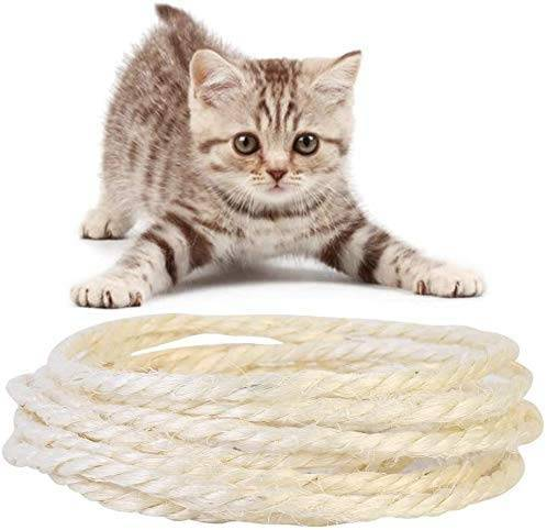 omzgxgod corda di canapa, tiragraffi sisal corda 100% iuta naturale di spessore corda cord per corda,artigianato artistico, giardinaggio e fioraio riparare,per gatto albero, sisal ball included (15m 6mm)