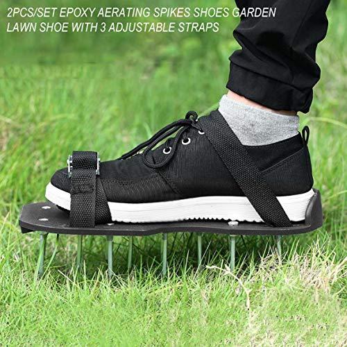 Moliies 2 pz/Set Epossidico Vernice per Pavimenti Spikes Scarpe da Giardino Scarpa da Giardino Aerazione Garden Prati Cura Sandali con 4 Cinturini Regolabili Nero