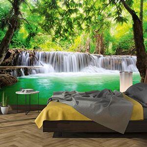 murimage Carta Parati Cascata 3D 366 x 254 cm Include Colla Bosco Giungla Foresta Lago Bamb Tailandia Poster Fotomurali Wallpaper