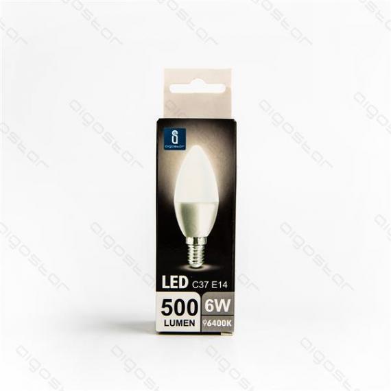 aigostar lampadina led a5 c37 6w attacco e14 color box 500 lumen 6400k luce fredda - angolo 280 d37h100mm equivale 50w incandescenza