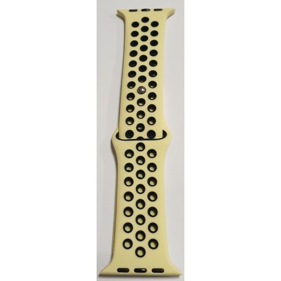 Apple cinturino in silicone giallonero 38mm 40mm misura s mod. nike apple watch serie 2-3-4-5 alta qualita chiusura pin-and-tuck