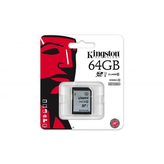 kingston memoria sd hc 64gb classe 10 uhs-i kingston sd 64 gb sd10vg2/64gb 64 gb