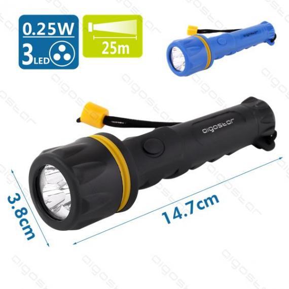 italy's cartridge torcia led di gomma nera/blu 3led - 15lm - 0,25w - luce bianca - 7000k - distanza 25mt - protezione ipx3 misura h147xd38mm