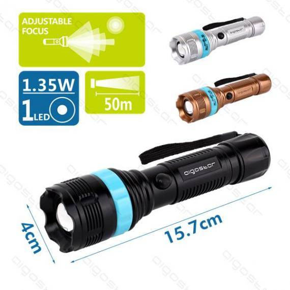 italy's cartridge torcia led neraoroargento con focus regolabile - 60lm - 1,35w - luce bianca - 7000k - distanza 50mt - ipx3 misura h157xd40mm