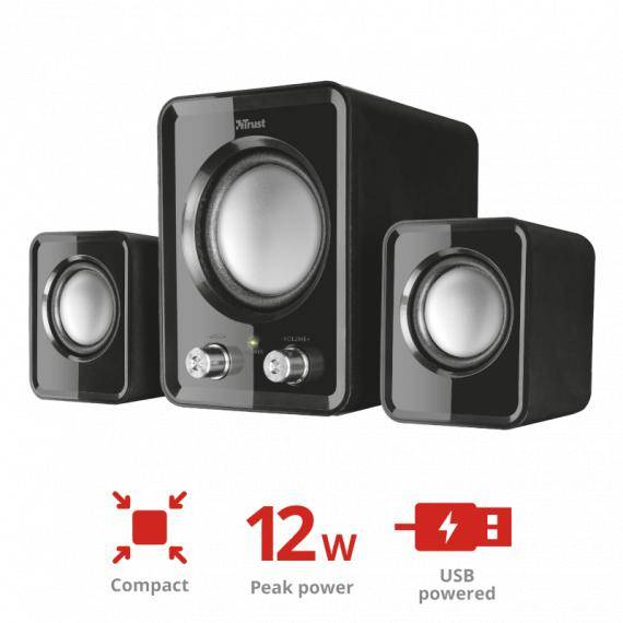 italy's cartridge altoparlante speaker trust 21525 ziva compact 2.1 con subwoofer nero - casse 12w con usb per pc e laptop