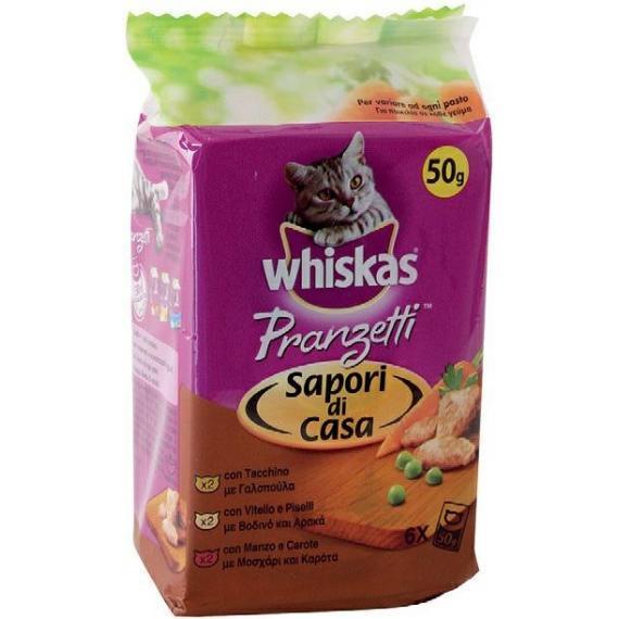 nobleza whiskas pranzetti in salsa 6x50gr carni sapori di casa gatti 1+ alimento completo di altissima qualita tutte le razze