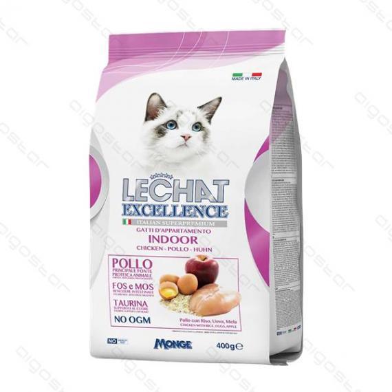 Nobleza crocchette per gatti 400gr con pollo lechat excellence indoor - alimento completo per gatti adulti - monge