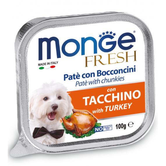 Hp Pat CON BOCCONCINI DI TACCHINO CARNE FRESCA PER CANI 100gr ALTISSIMA QUALITA SPECIAL DOG FRESH - ALIMENTO COMPLETO - MONGE
