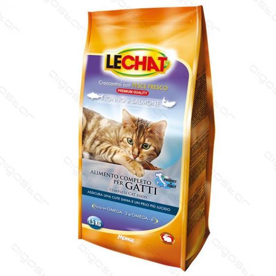 Nobleza crocchette per gatti 1,5kg con tonno e salmone lechat - alimento completo per gatti con pesce fresco - monge