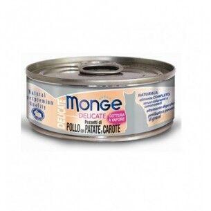 Monge Delicate Pollo, patate e carote cibo umido per gatto 24 scatolette da 80g