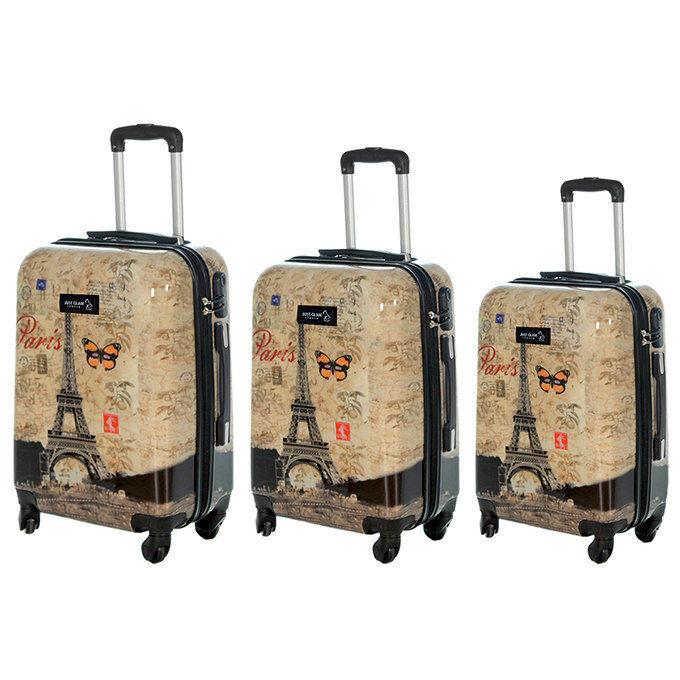 JUSTGLAM Set 3 valigie in abs leggero c/4 ruote fantasia torre eiffel con farfalla