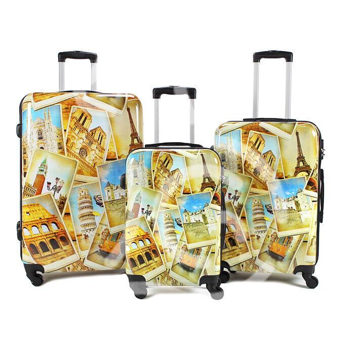 Set 3 valigie in abs leggero c/4 ruote fantasia Monumenti