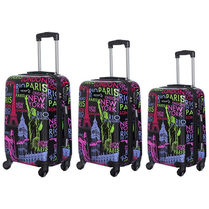 JUSTGLAM Set 3 valigie in abs leggero c/4 ruote fantasia nomi capitali nero