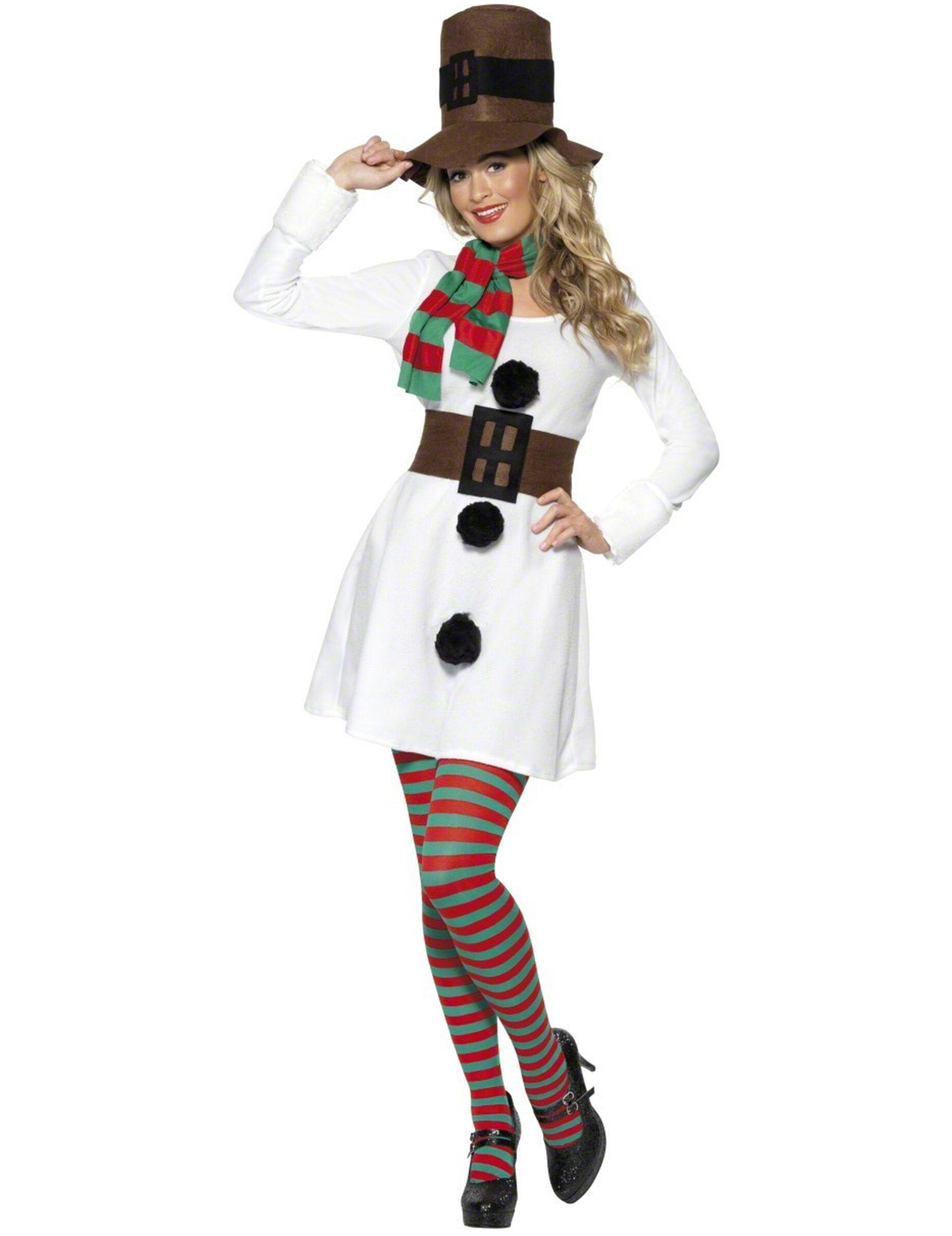 Vegaoo Costume pupazzo di neve donna natale - S
