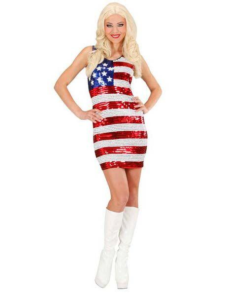 Vegaoo Costume da miss USA in paillette da donna - S