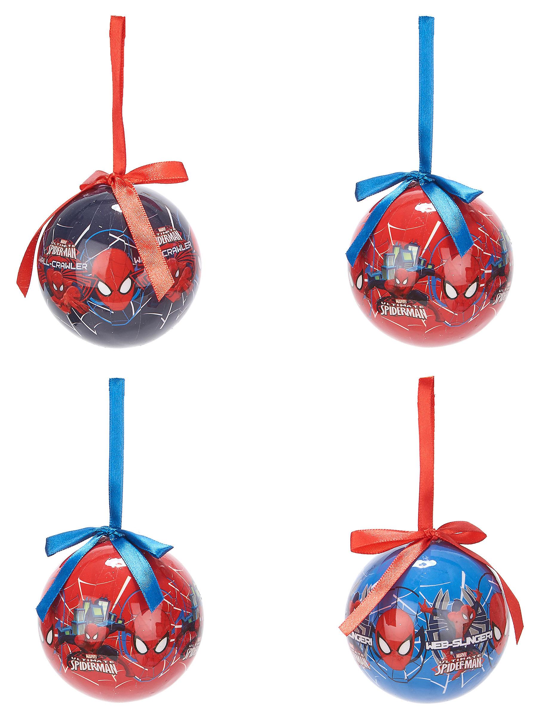 Vegaoo 4 Palline di Natale Spiderman 7.5 cm