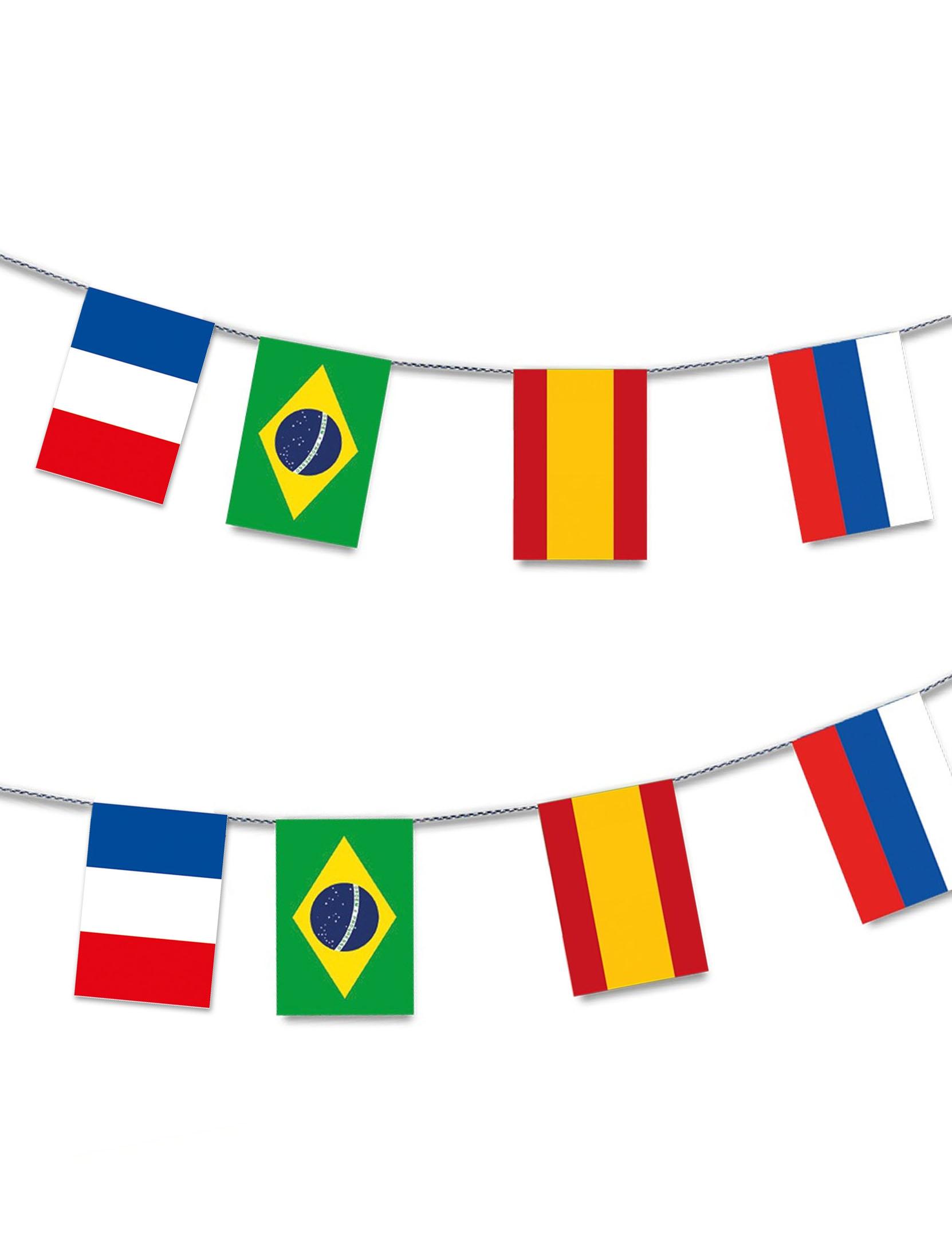 Vegaoo Ghirlanda in plastica 32 bandiere 13 m