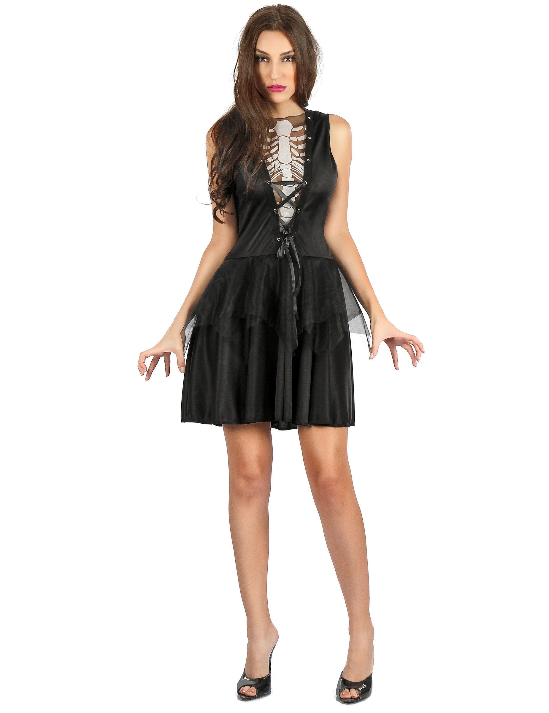 Vegaoo Costume vestito con scheletro per donna - Small