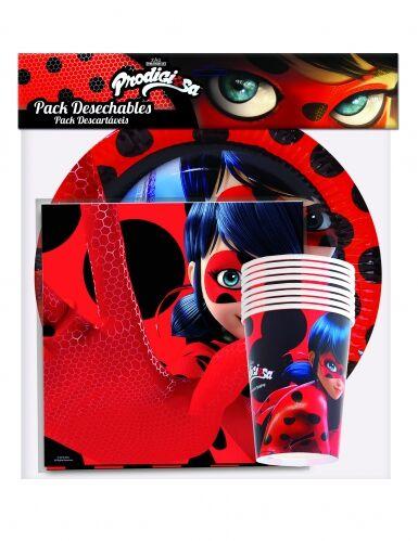 FESTISHOP S.L Pack Ladybug 20 Tovaglioli 8 piatti 8 bicchieri Taglia Unica