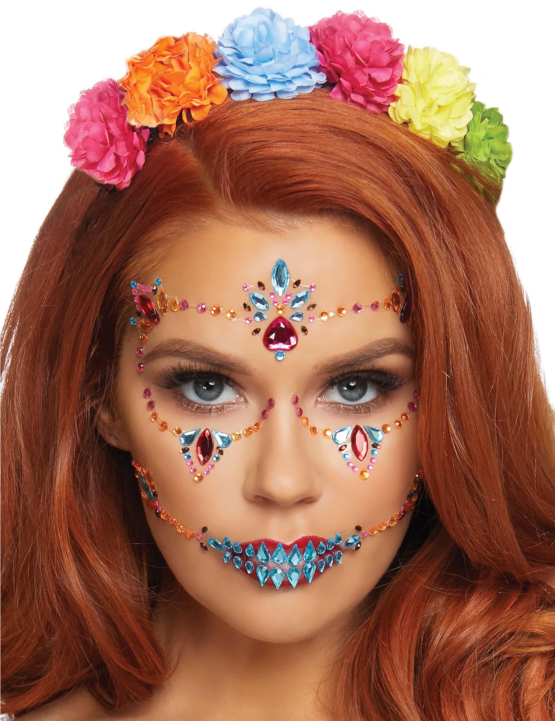 Vegaoo Strass viso adesivi Dia de los Muertos