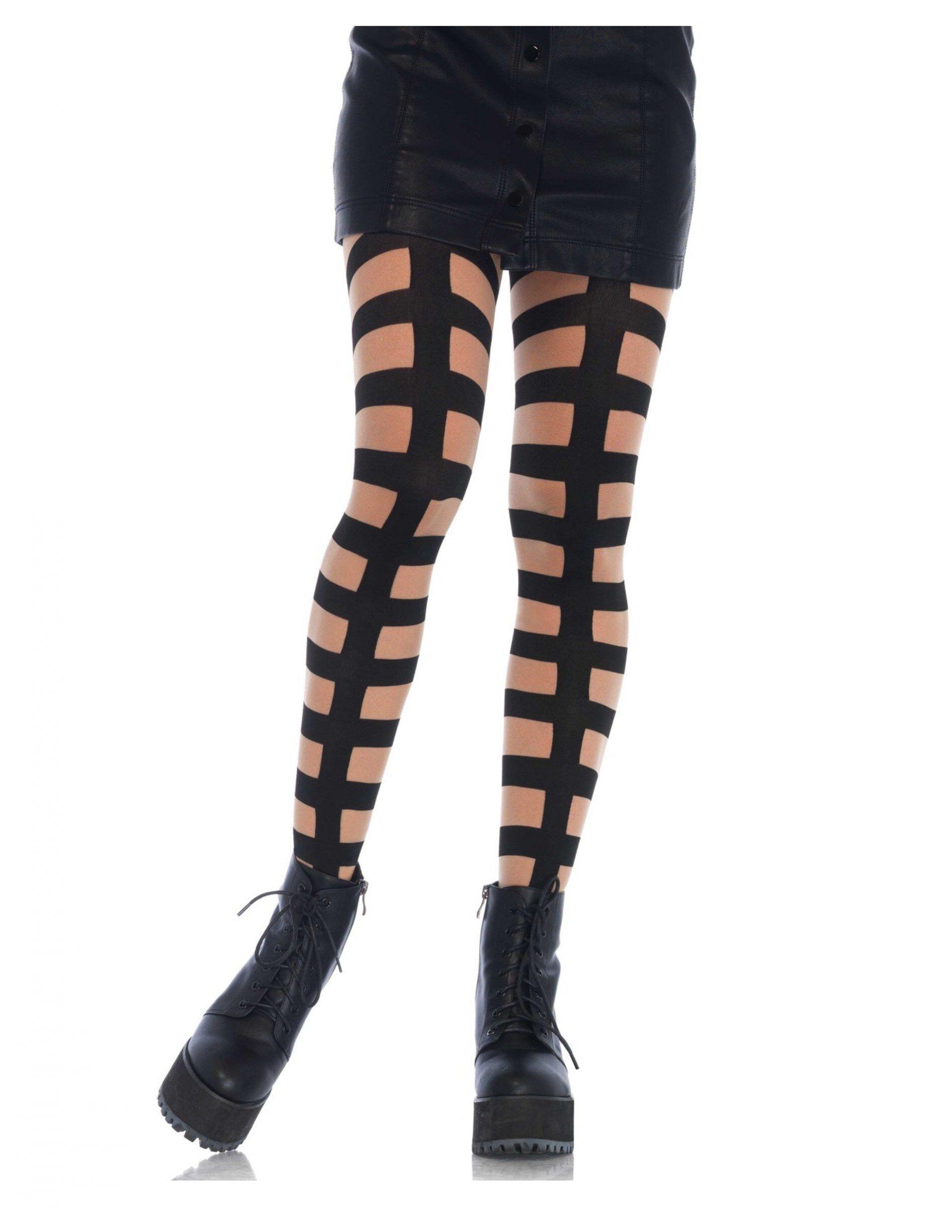 Vegaoo Calze effetto cinghie a gabbia nera per donna