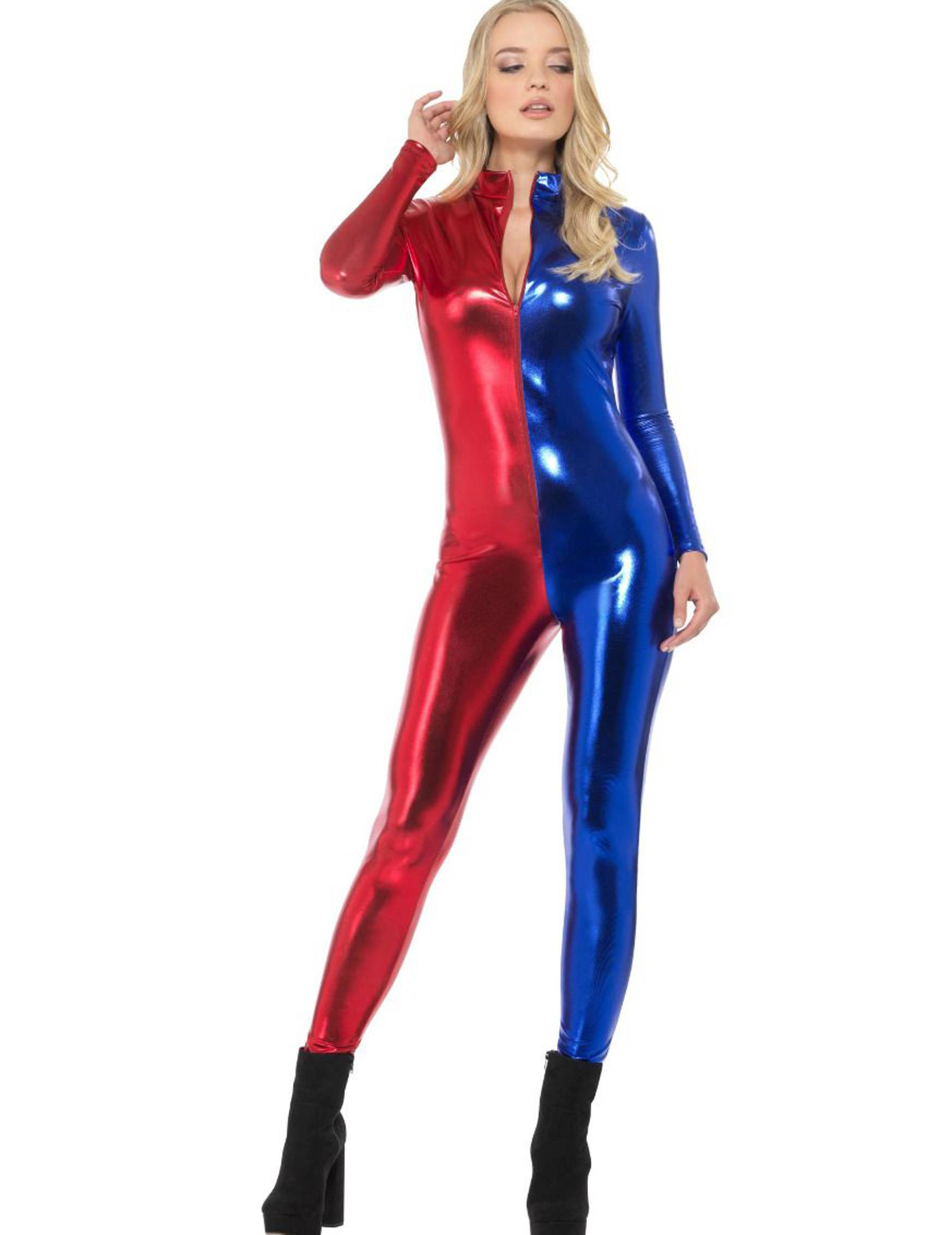 Vegaoo Costume tuta sexy blu e rossa donna - M