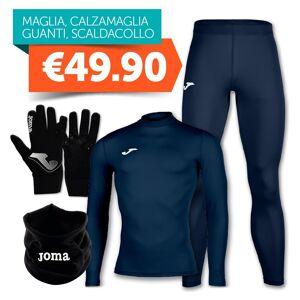 Joma Combo Intimo Maglia Termica + Calzamaglia + Guanti + Scaldacollo Blu, Taglia: Unica, Unisex, Blu